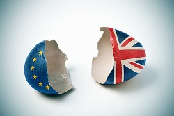 Brexit displayed by broken eggs