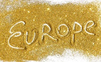 Europe in Gold Background