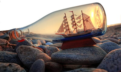 Ship miniature in bottle